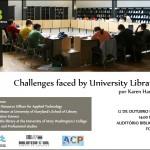 "Palestra ""Chalenges faced by University Libraries"" no próximo dia 12 de Outubro"