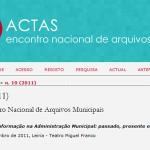 Publicadas online e em livre acesso as Actas do 10º Encontro Nacional de Arquivos Municipais