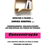 """Concentração """"Somos contra a relocalização da Biblioteca da Penha de França"""", organizada pela Assembleia Popular da Graça e Arredores"""