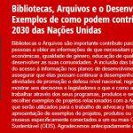 Apresentação do questionário Bibliotecas, Arquivos e Agenda 2030 das Nações Unidas
