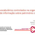 """Webinar """"O uso dos vocabulários controlados na organização e gestão de informação sobre património cultural"""""""